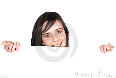 Girl Holding A White Card Royalty Free Stock Image - Image: 1195606
