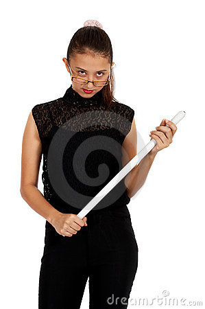 Girl holding a white stick