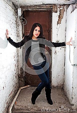 Girl holding white walls