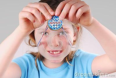 Girl Holding Winner Medal