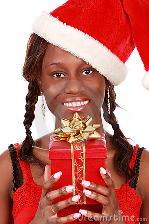 Girl holding xmas gift
