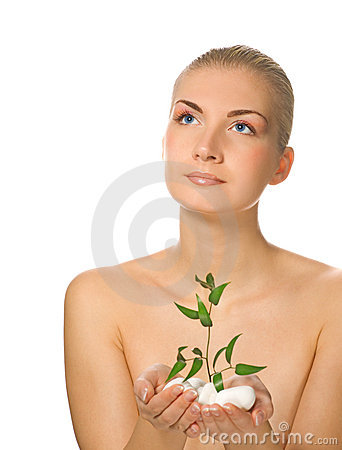 Free Girl Holding Young Plant Royalty Free Stock Photos - 3912838