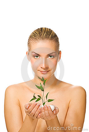 Free Girl Holding Young Plant Royalty Free Stock Image - 4350426