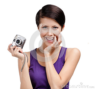 Girl holds amateur hand-held camera