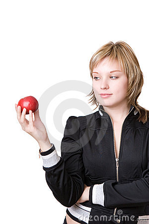 Girl holds an apple