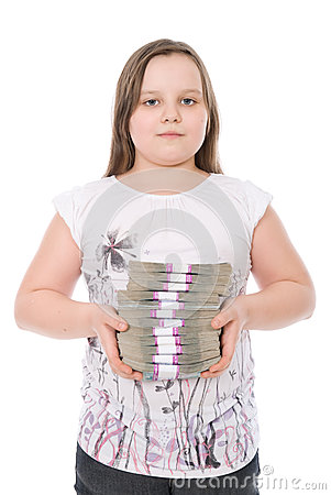 The girl holds a batch of money