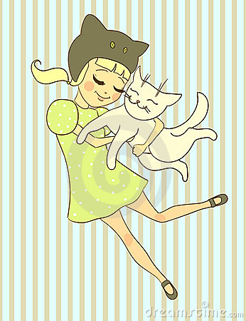 Girl holds cat