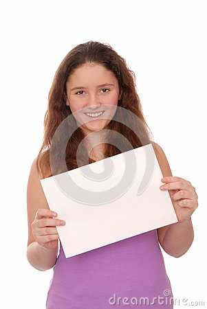 A girl holds a empty  paper.