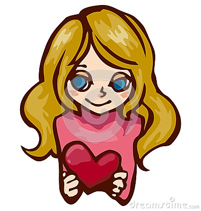 Girl Holds A Red Heart