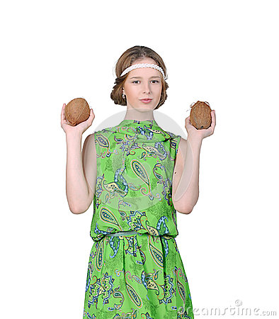 Girl holds two coconut