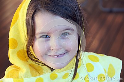 Girl with hooded towel