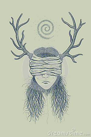 Girl with horns and a blindfold