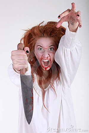 GIrl in Horror Situation With Bloody Face
