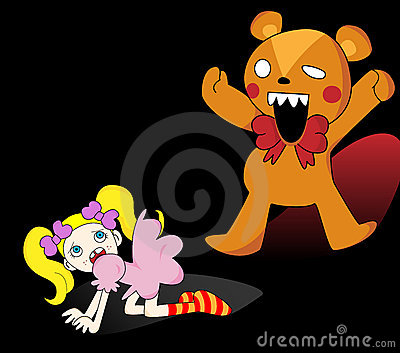 Girl and Horror Teddy Bear