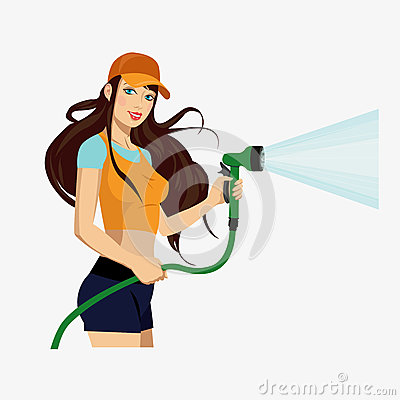 Girl with a hose Vector Illustration