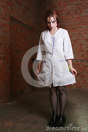 Girl In A Hospital Dressing Gown Stock Photography - Image: 6133922