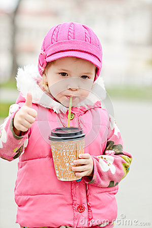 Girl with hot drink