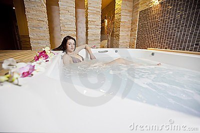 Girl in hot tub