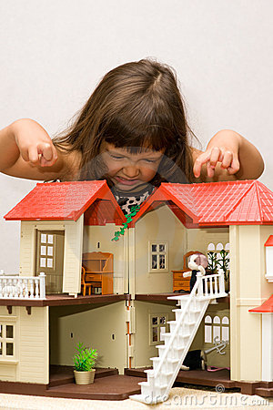 Girl and house for dolls