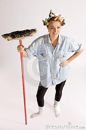 Girl houseworking
