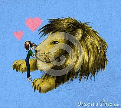 Girl and huge lion