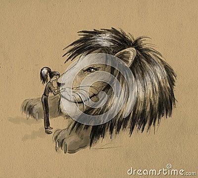 Girl and huge lion - sketch