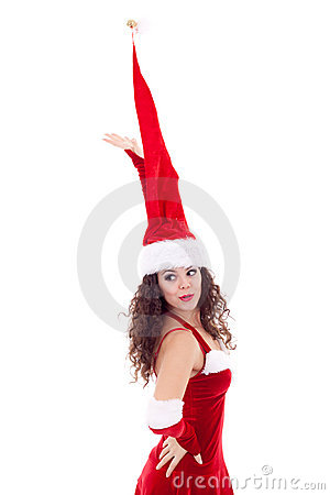 Girl in huge santa hat
