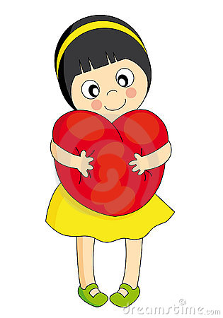 Girl hugging a heart
