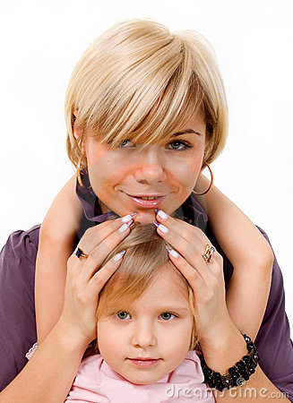 Girl hugging a mother