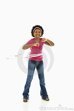 Girl with hula hoop.