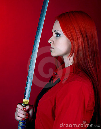 The girl I was with a Japanese sword
