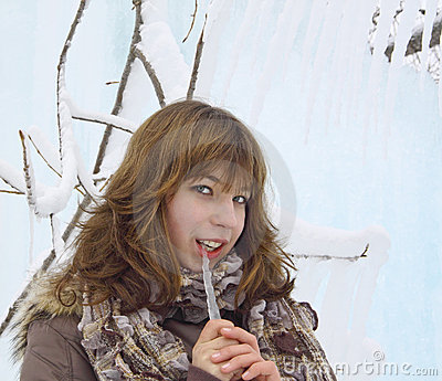 The  girl with an ice icicle