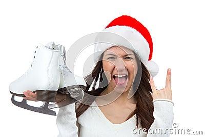 Girl ice skates сhristmas santa hat screaming