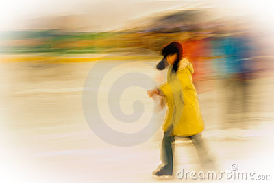 Girl ice-skating outside