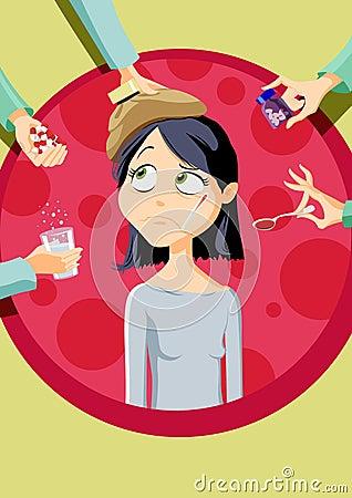 Girl with illness