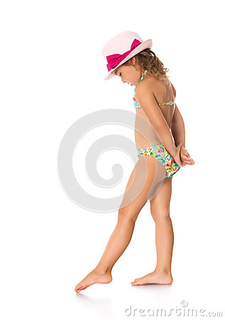 Free Girl In A Bathing Suit And Hat Stock Photography - 59176052