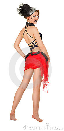 Free Girl In A Cabaret Style On A White Royalty Free Stock Photography - 19540717