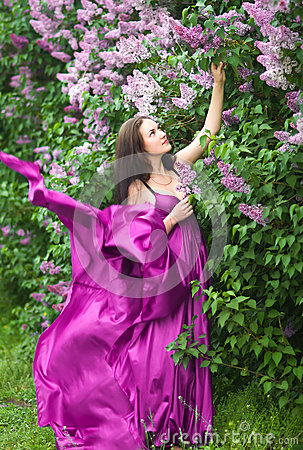 Free Girl In A Pink Dress Flying Stock Photo - 24705430