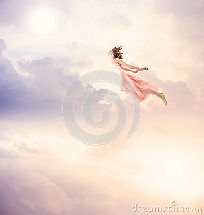 Free Girl In A Pink Dress Flying In The Sky Royalty Free Stock Photography - 46109367