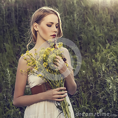 Free Girl In A Wild Forest Stock Photos - 25340583
