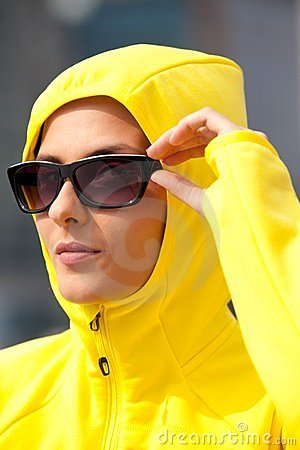 Free Girl In A Yellow Hood Royalty Free Stock Image - 24080976