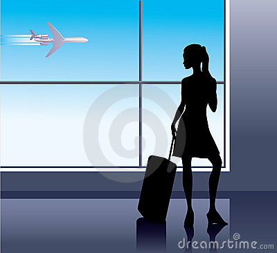 Free Girl In Airport Stock Photography - 3211412