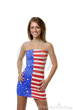 Free Girl In American Flag Dress Stock Photos - 785923