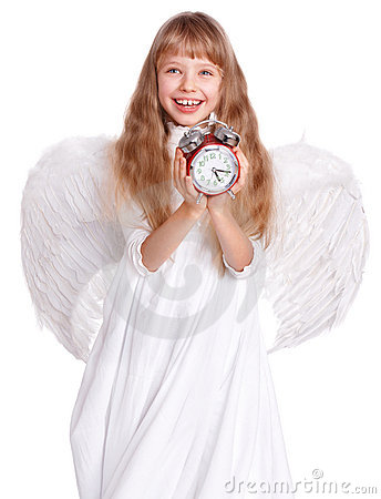 Free Girl In Angel Costume Holding Clock. Stock Image - 22535611