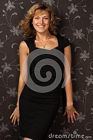 Free Girl In Black Dress Stock Photo - 16151890