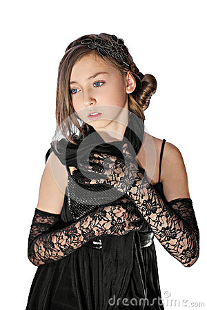 Free Girl In Black Lacy Gloves With Clutch Stock Photos - 29606433