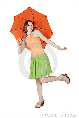 Free Girl In Bright Clothes With Umbrella Royalty Free Stock Photo - 20291495