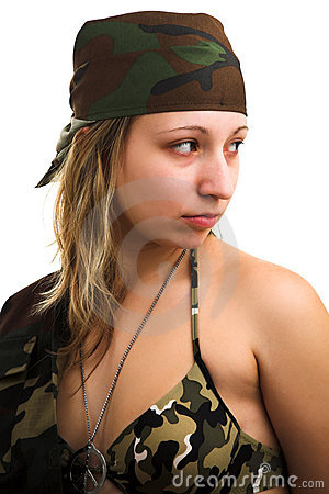 Free Girl In Camouflage Stock Image - 3301131