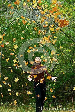 Free Girl In Falling Leafs Stock Image - 11500261