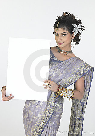 Free Girl In Fancy Sari Holding White Board Royalty Free Stock Photography - 8041767